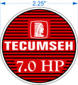 TECUMSEH 7 hp engine decal SNOW BLOWER ENGINE