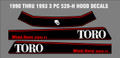 1990 thru 1993 WHEEL HORSE  3 PIECE HOOD DECAL SET