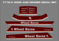 WHEEL HORSE  1986 YT12-A VERTICLE SHAFT  FIVE PC. REPRODUCTION DECAL SET