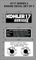 KOHLER KT 17 SERIES 2 ENGINE DECAL SET OF 3