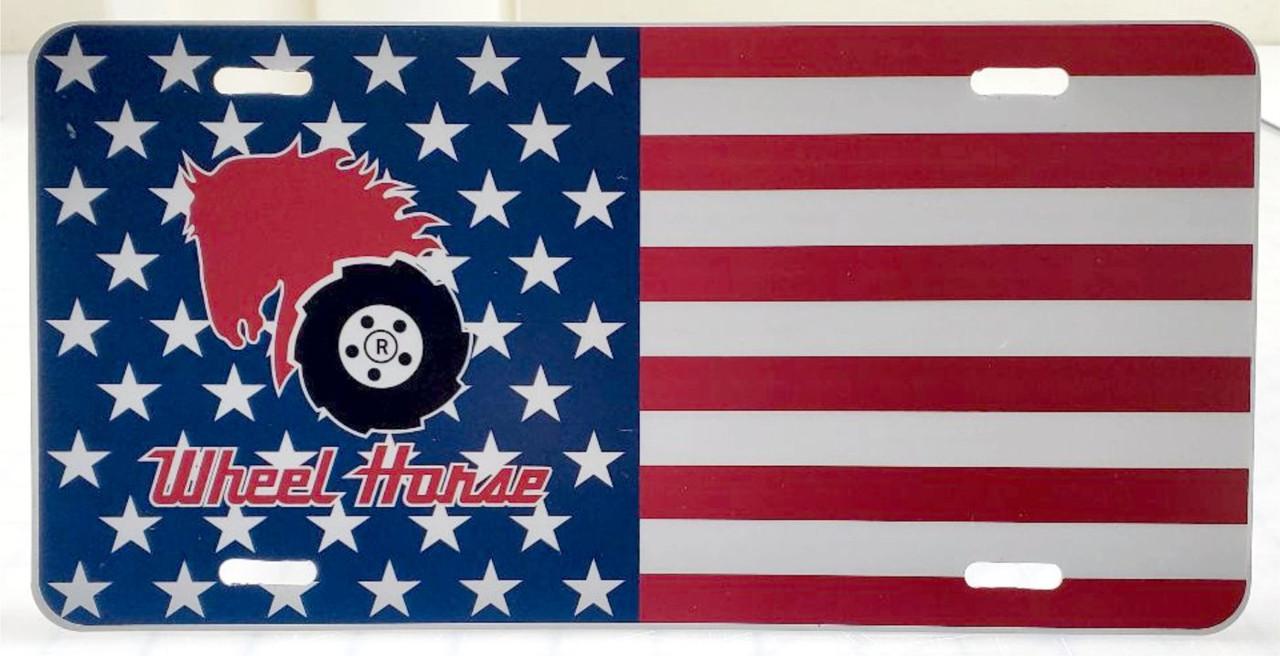 AMERICAN FLAG LICENSE PLATE WHEEL HORSE