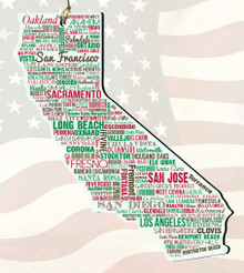 California Wooden State Ornament