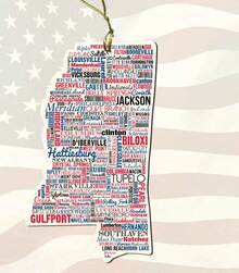 Mississippi Wooden State Ornament