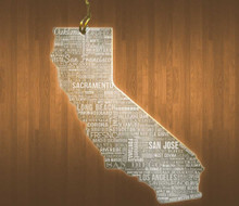 California Acrylic State Ornament