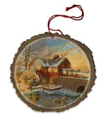 The Skating Party Wood Ornament