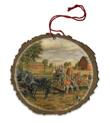 Sunny Days at the Farm Hayride Wood Ornament