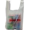 "11.5"" x 6.5"" x 21"" High-Density Pre-Printed ""Thank You"" White T-Shirt Bags"