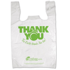 "11.5"" x 6.5"" x 21"" High-Density Biodegradable ""Thank You"" PrePrinted White T-Shirt Bags"