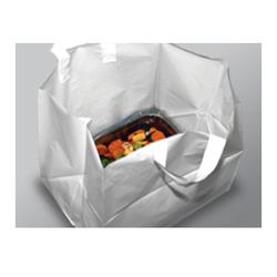 """24"""" x 15.25"""" Take Out Bag, White Plain w-Cardboard Insert"""