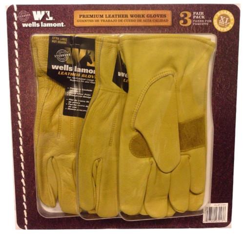 Wells Lamont Men's Leather Work Glove 3PK | Fairdinks