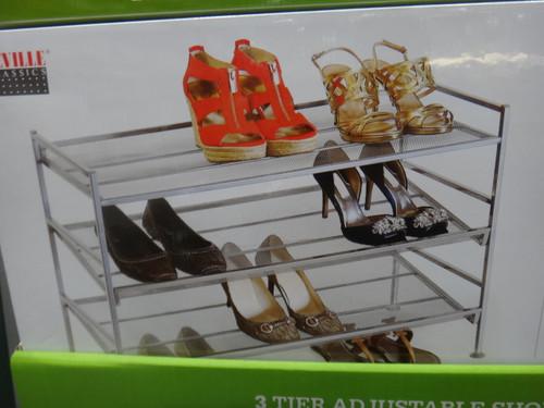 Seville 3 Tier Adjust Shoe Rack 48.5 x 67.4 x 32.7cm - Fairdinks