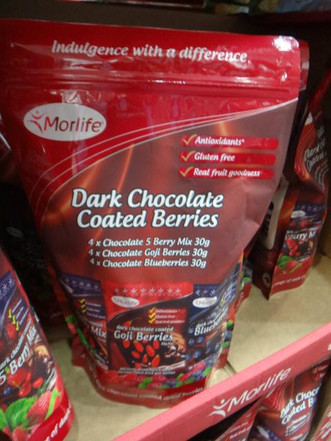 Morlife Dark Choc Coated Berries 12x30G | Fairdinks