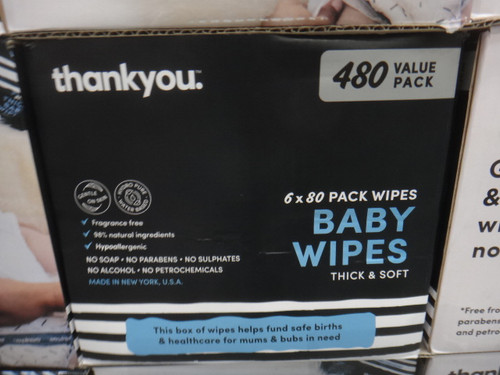 Thank You Baby Wipes 480 Pack | Fairdinks