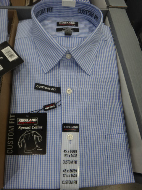 Kirkland Signature Mens Non-Iron Dress Shirt Custom Fit US Sizes: 15:18 | Fairdinks