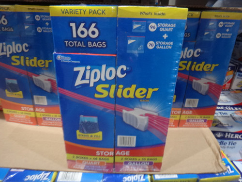 Ziploc Storage Slider Pack 166CT 2x35CT GAL + 2x48CT Quart | Fairdinks