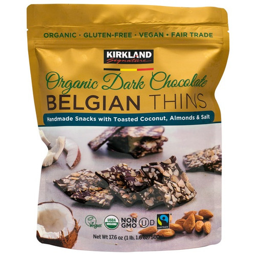 Kirkland Signature Organic Dark Chocolate Belgian Thins 500G | Fairdinks
