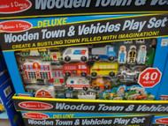 Melissa & Doug Wooden Town & Vehicles Deluxe Play Set | Fairdinks