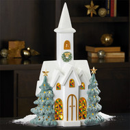 Snowy Church With LED Lights Batteries Not Included   Fairdinks