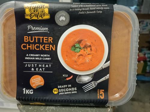 Tiffin Delite Butter Chicken, a creamy, mild North Indian chicken curry. Australian owned 1kg
