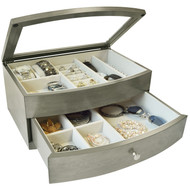 Jewellery Box Grey Wood With Glass Top | Fairdinks