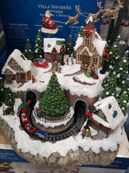 Snowy Holiday Village Centrepiece with 8 songs