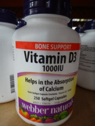 Webber Naturals Vitamin D3 1000IU 250 Soft Capsules | Fairdinks