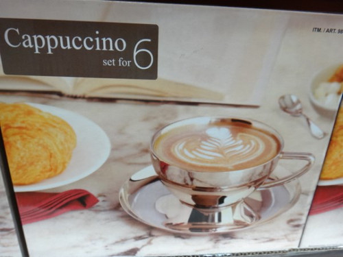 Magppie Double Walled Stainless Steel Cappuccino Cup & Saucer Set 12pc   Fairdinks