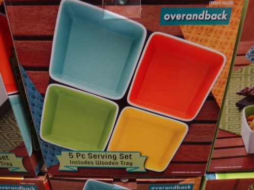 Over and Back Summertime Serving Bowls with Tray. 5 Piece Set