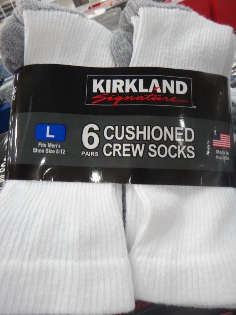 Kirkland Signature Cushioned Crew Sock 6 Pack Fairdinks