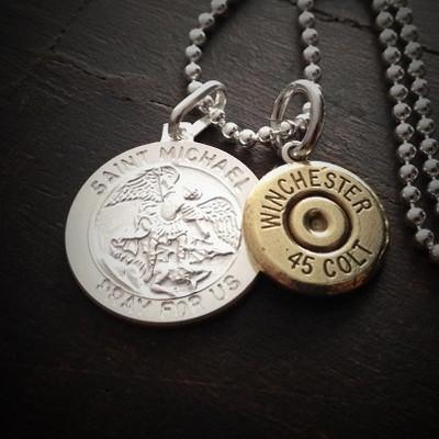Saint Michael Coin Bullet Necklace