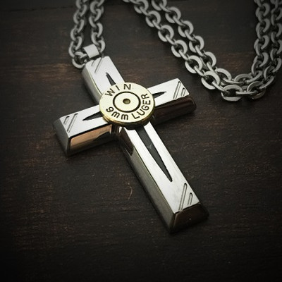 Jet Cross Bullet Necklace