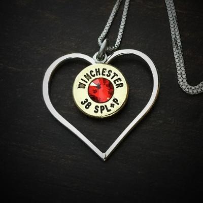 Burning Heart Bullet Necklace
