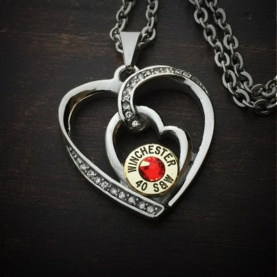 Frosted Heart Bullet Necklace