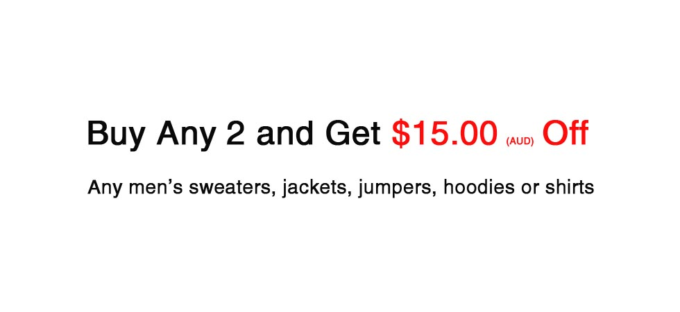 Buy mens clothing any 2 get 15 dollar off