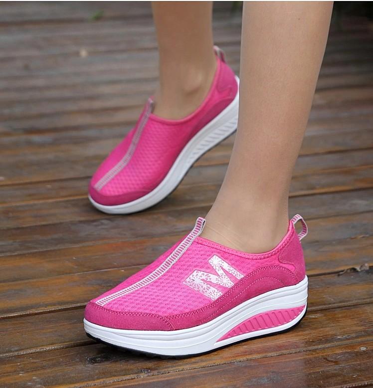 M Letter Pattern Pink Leather Rocker Bottom Shoe Sneaker