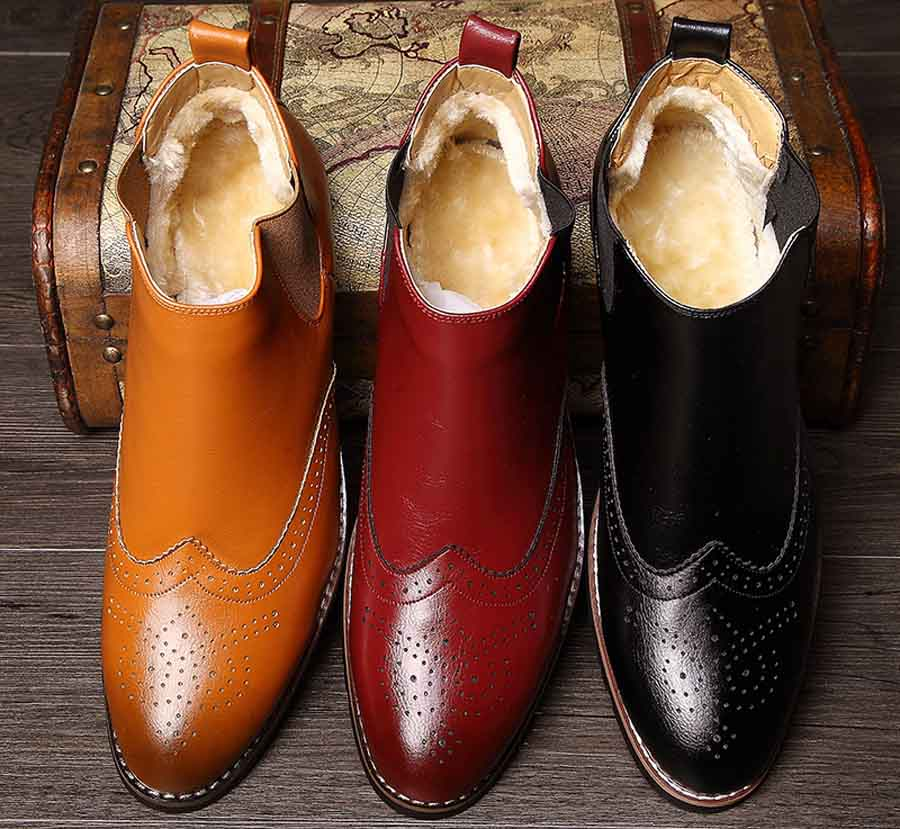 Men's retro brogue slip on winter dress shoe boots