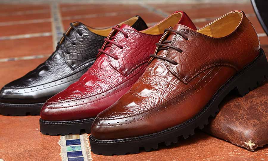 Men's brogue crocodile derby lace up dress shoes