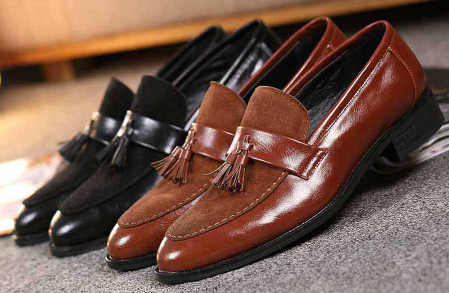 Men's suede leather vamp tassel slip on dress shoes