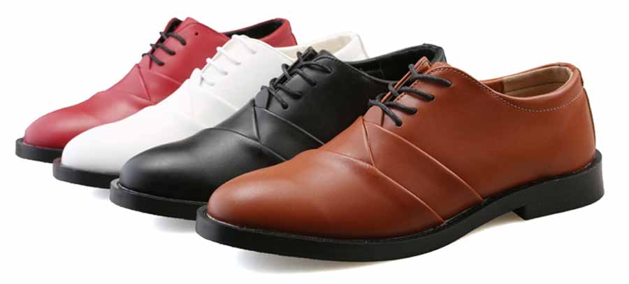 Men's retro pleated Oxford lace up dress shoes
