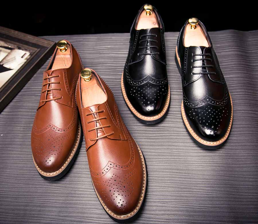 Men's retro brogue lace up derby dress shoes