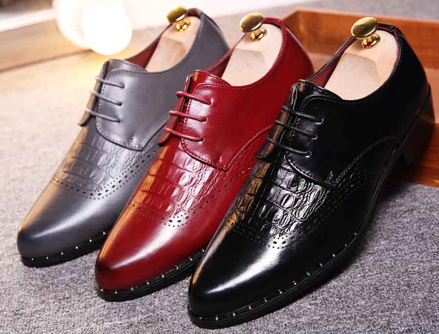 Men's brogue crocodile pattern derby dress shoes