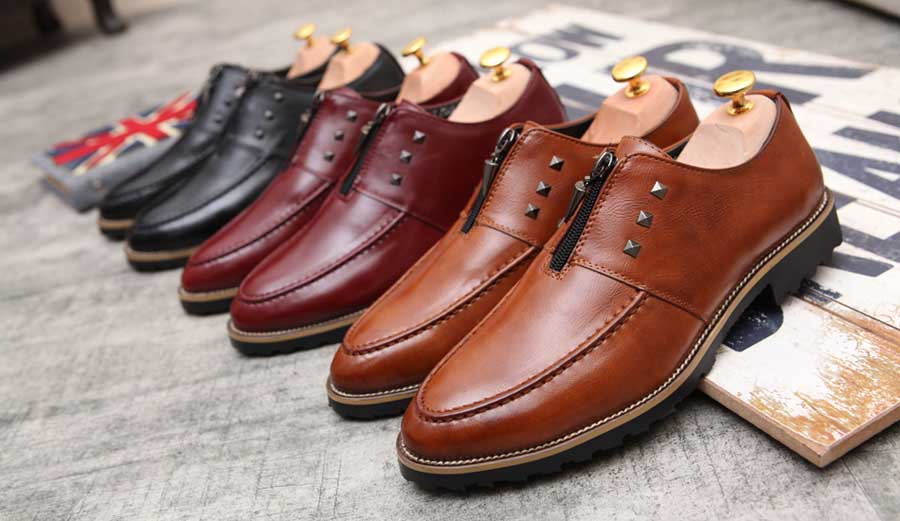 Men's zip rivet leather slip on dress shoes