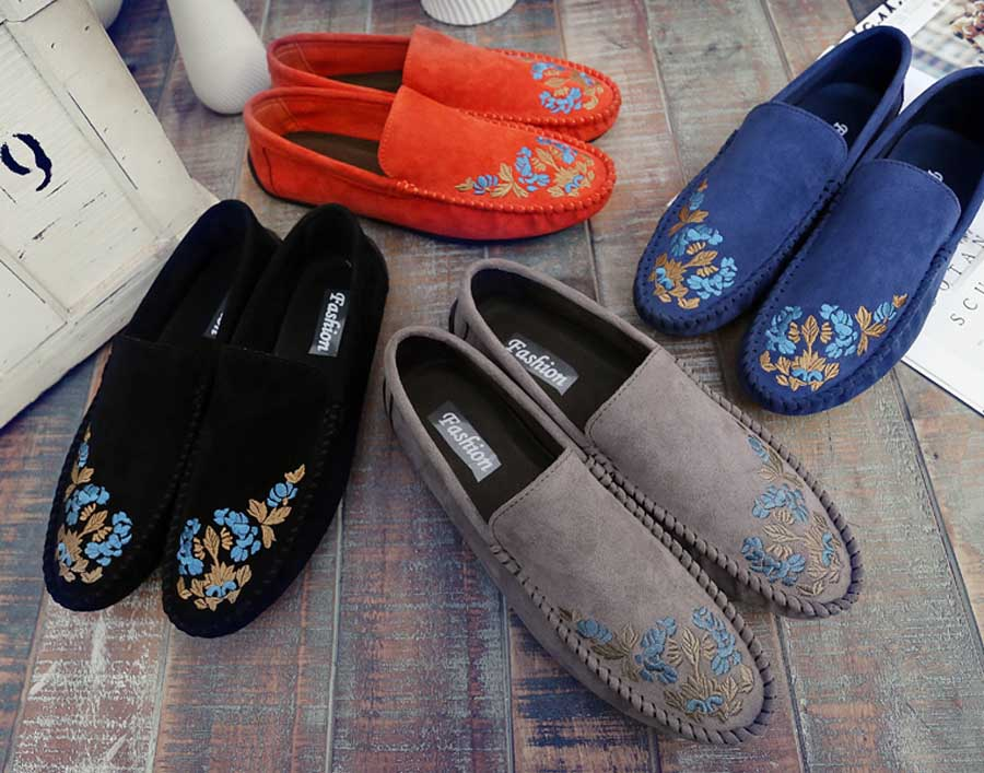 Men's floral print leather slip on shoe loafers