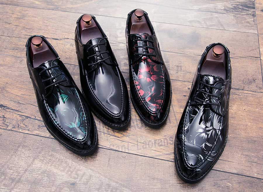 Men's floral patent leather derby dress shoes