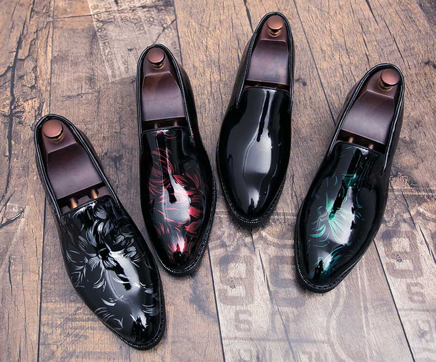 Men's floral patent leather slip on dress shoes