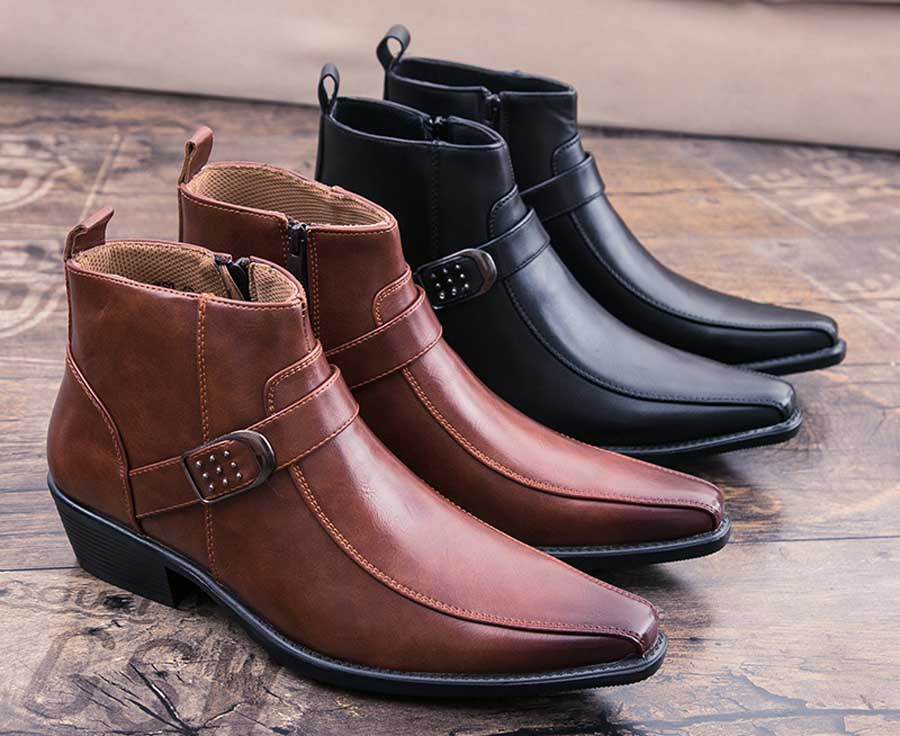Men's buckle design zip slip on dress shoe boots