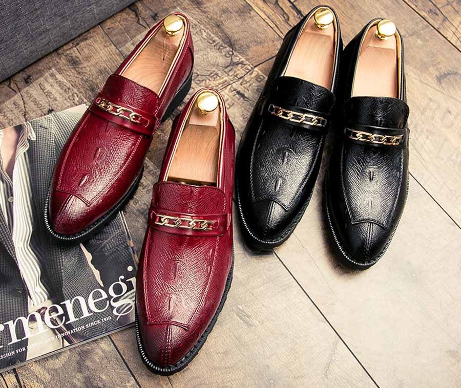 Men's retro chain buckle leather slip on dress shoes