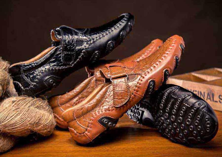 Men's velcro style pattern slip on shoe loafers
