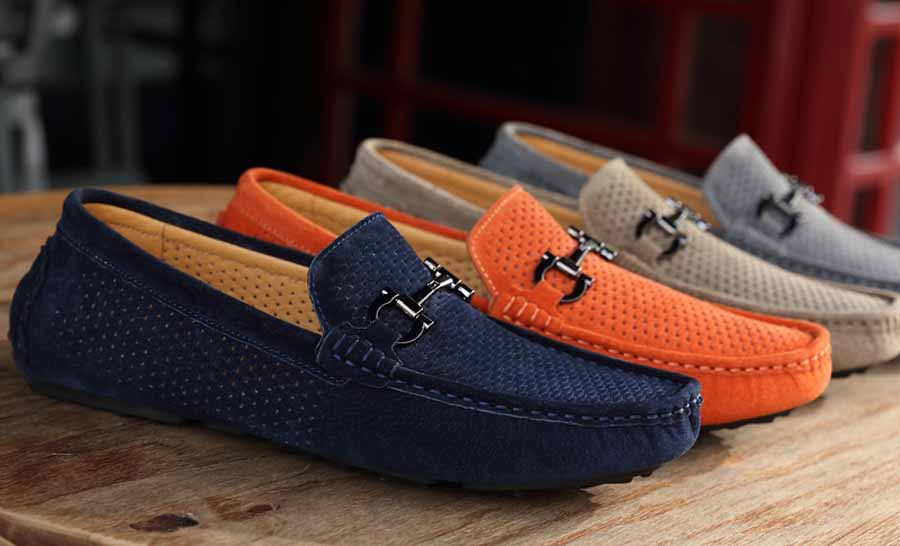 Men's hollow out metal buckle slip on shoe loafers