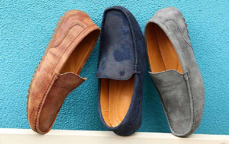 Men's crack pattern retro slip on shoe loafer